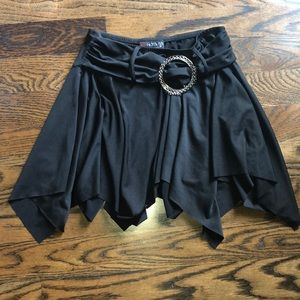 "Black ""hot kiss"" skirt with accent belt"